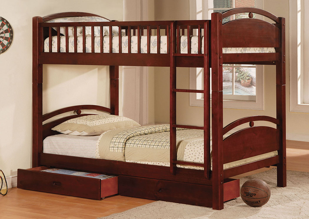 California l Cherry Twin Bunk Bed w/2 Drawers,Furniture of America