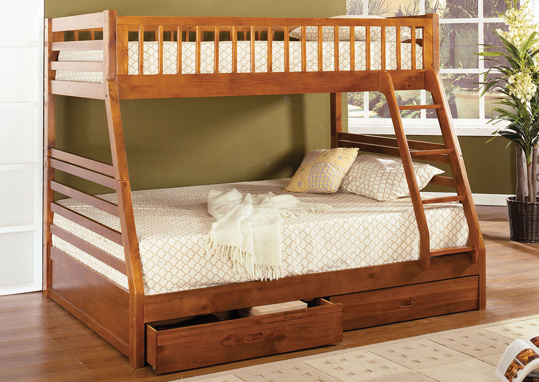 California II Wood Twin/Full Oak Bunk Bed,Furniture of America