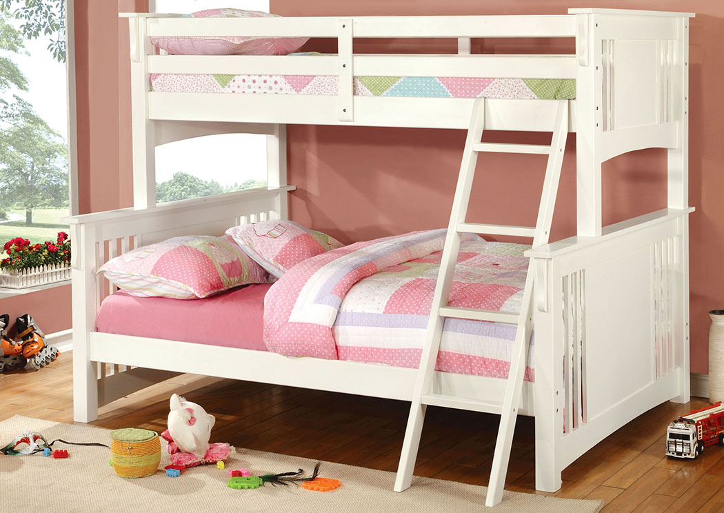 Spring Creek White Full Bunk Bed,Furniture of America