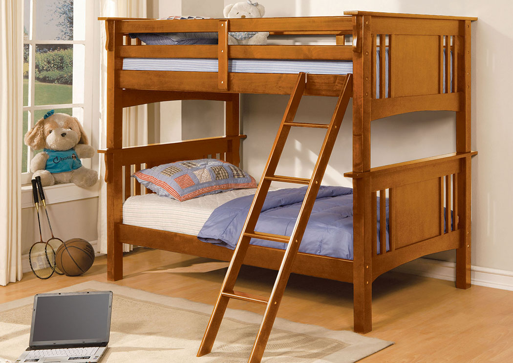 Spring Creek Oak Twin Bunk Bed,Furniture of America