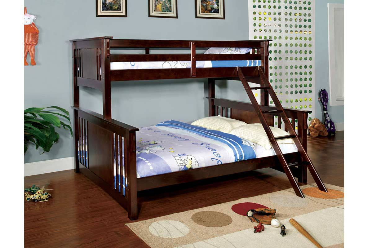 Spring Creek Dark Walnut Twin/XL Queen Bunk,Furniture of America