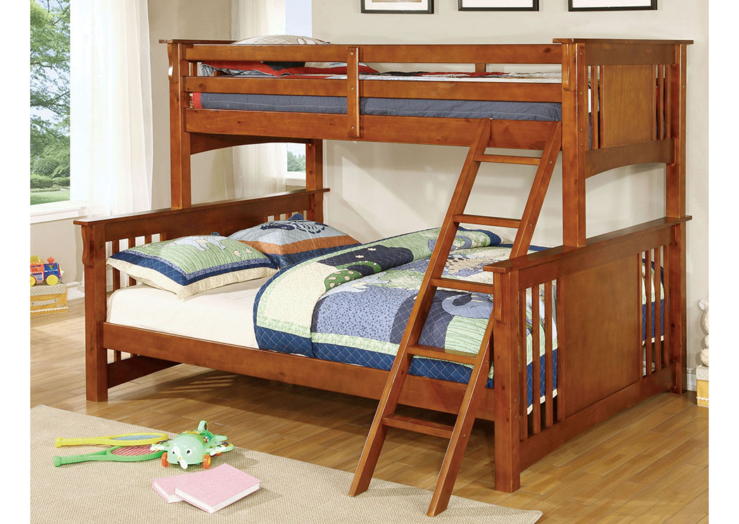 Beds To Go Spring Creek Oak Twin Xl Queen Bunk Bed W Dresser And Mirror