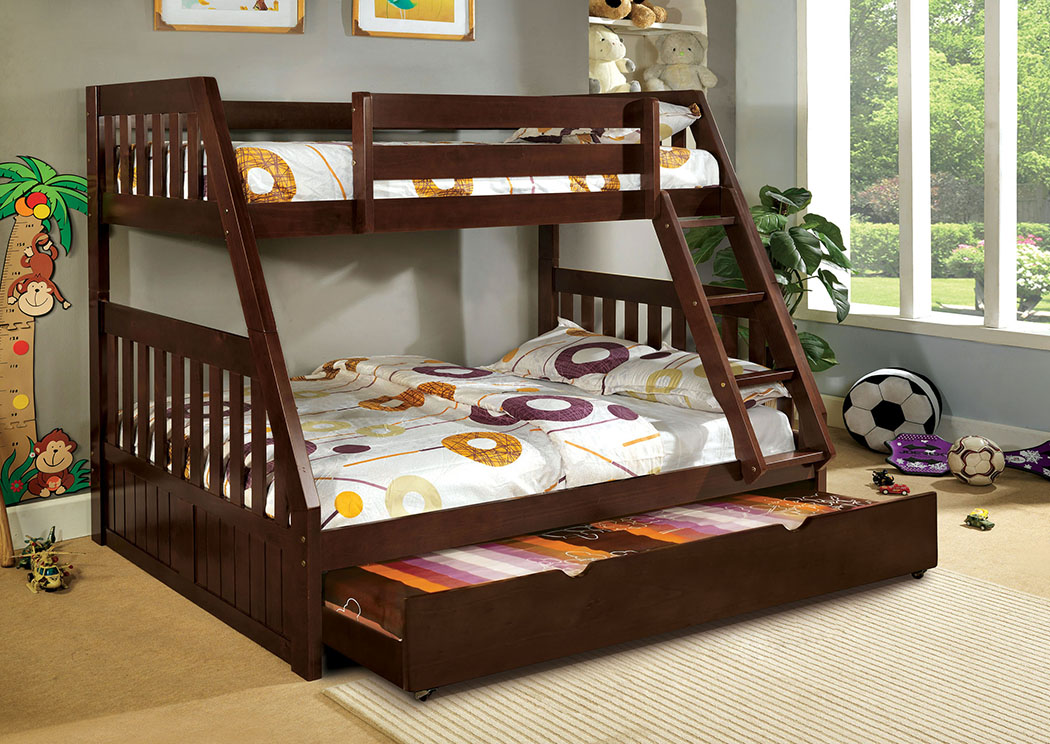 Canberra Dark Walnut Twin/Full Bunk Bed,Furniture of America