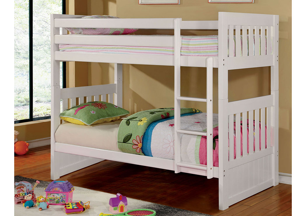 Canberra ll White Twin/Twin Bunk Bed,Furniture of America