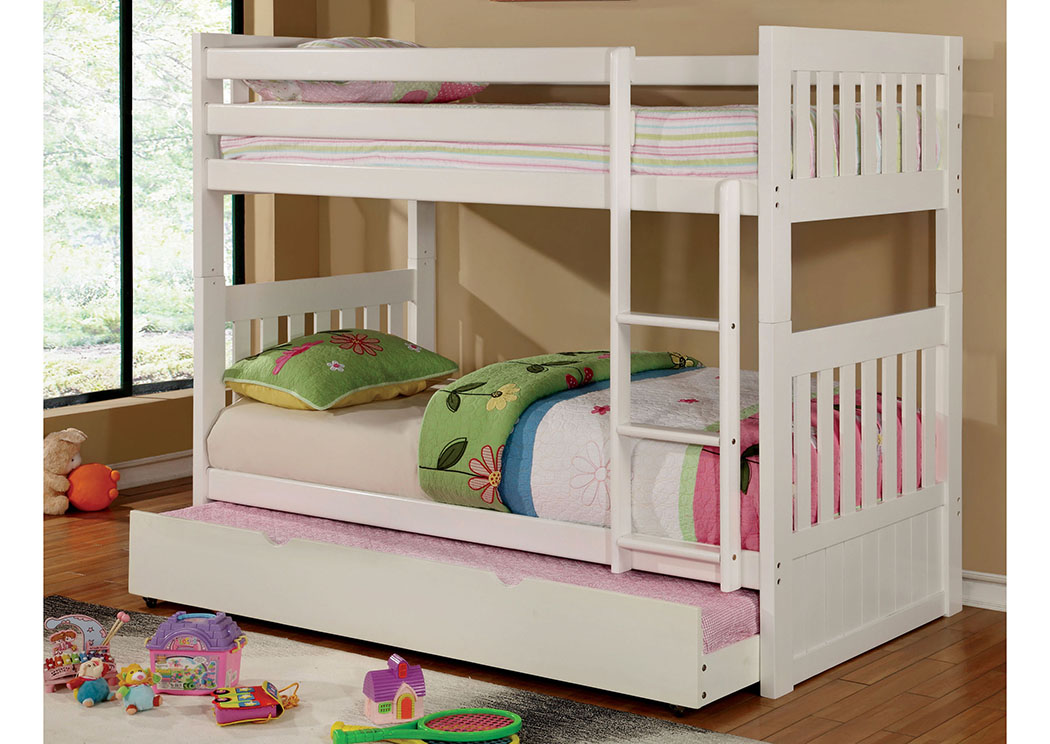 Canberra ll White Twin/Twin Bunk Bed w/Trundle,Furniture of America