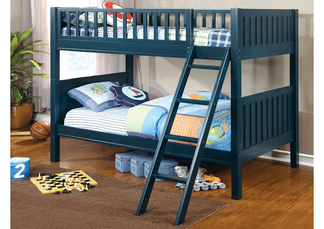 Solpine Dark Blue Twin Bunk Bed,Furniture of America