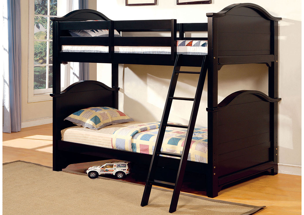 Flamingo Furniture Chesapeake Black Twin Twin Bunk Bed