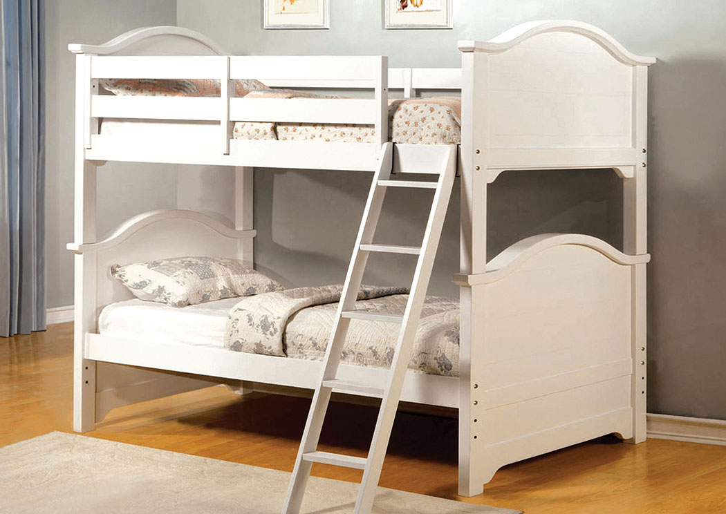 Chesapeake White Twin Bunk Bed,Furniture of America