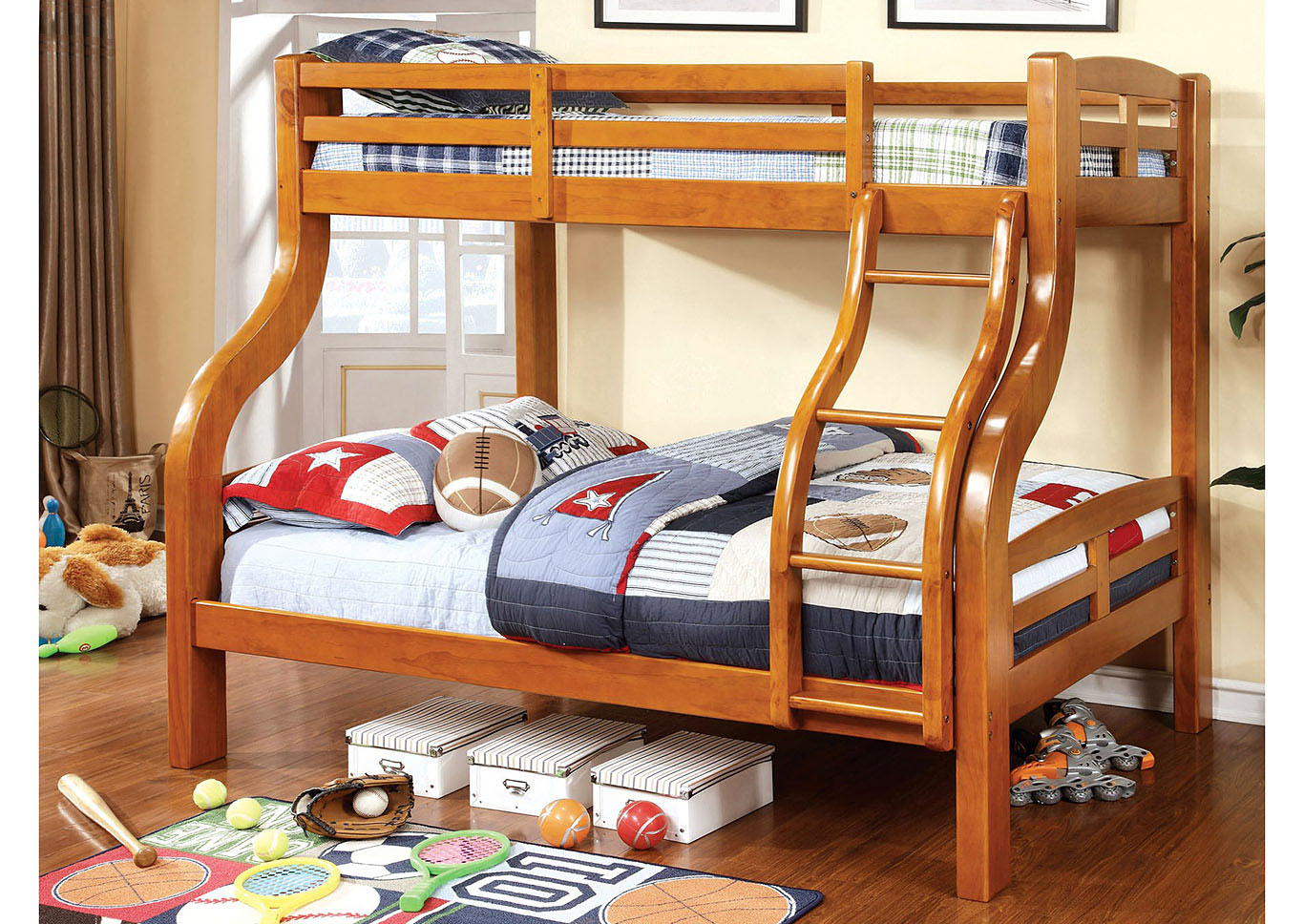 Solpine Oak Twin/Full Bunk Bed,Furniture of America TX
