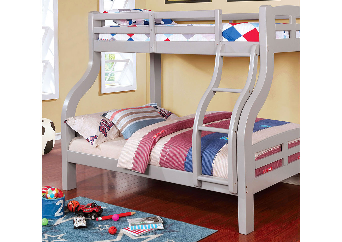 Solphine Gray Twin/Full Bunk Bed,Furniture of America TX