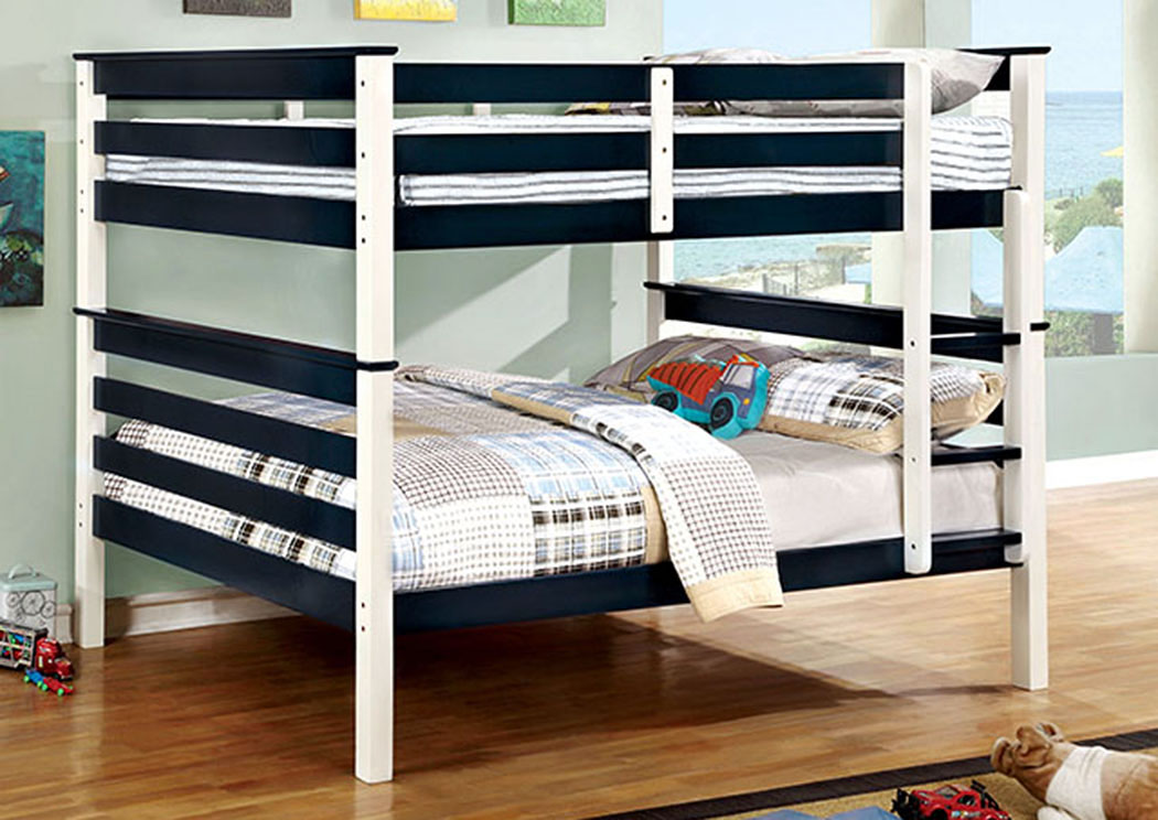 Lorren Blue & White Full/Full Bunk Bed w/Ladder,Furniture of America