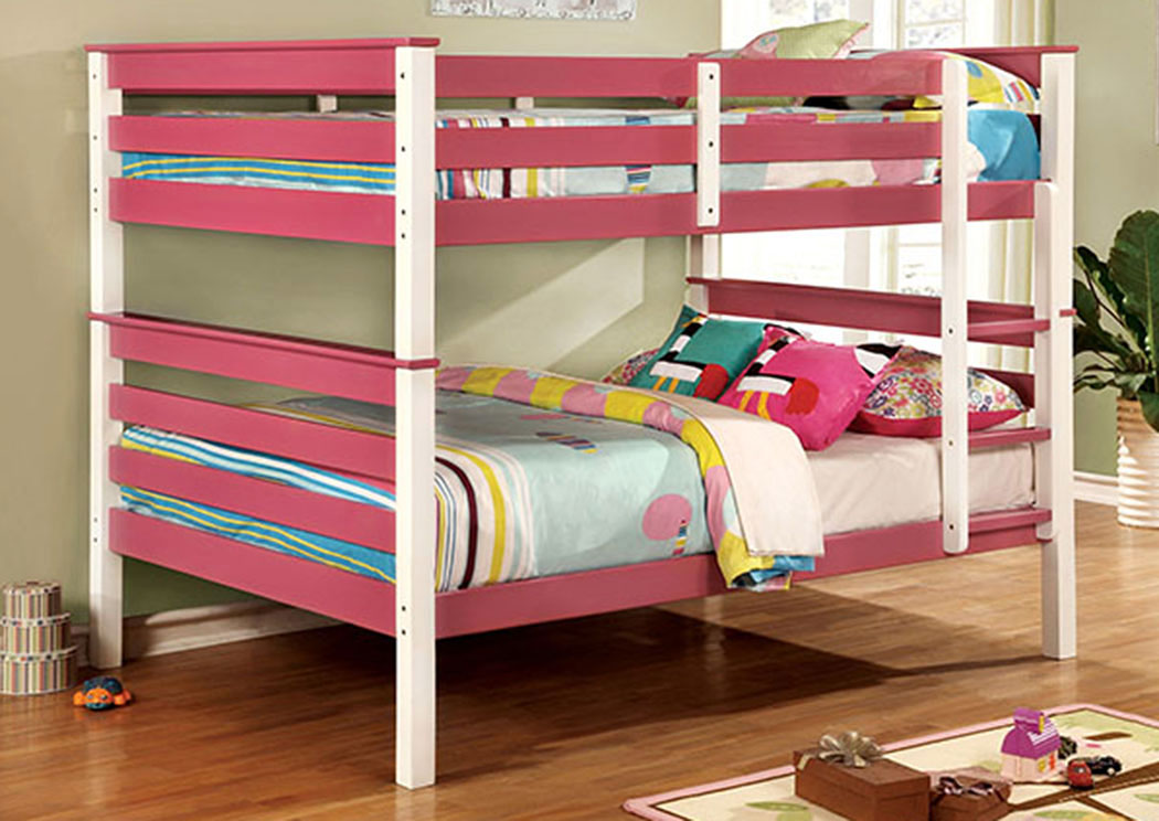Lorren Pink & White Full/Full Bunk Bed,Furniture of America