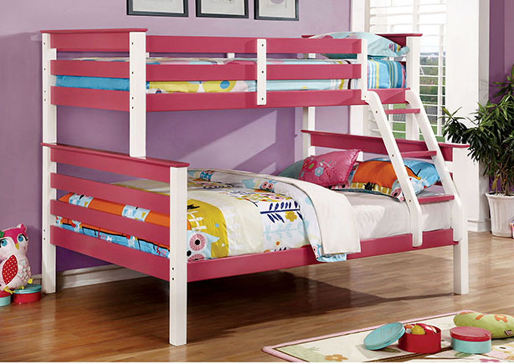 Lorren Pink & White Twin/Full Bunk Bed,Furniture of America