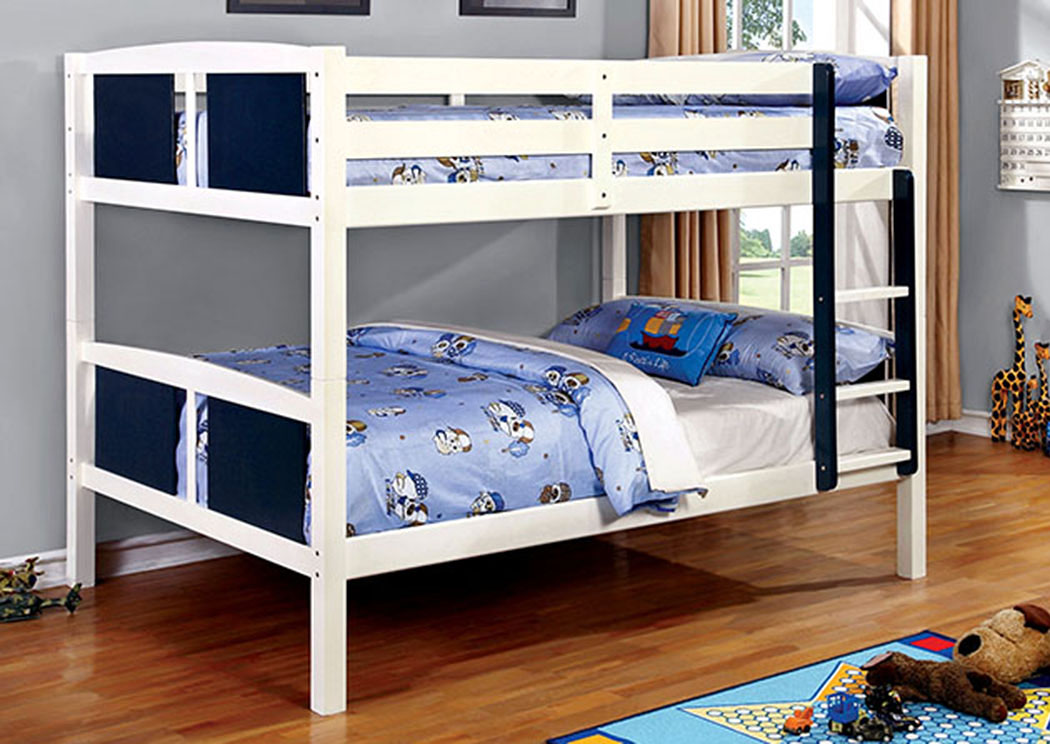 Corral Blue & White Full/Full Bunk Bed w/Ladder,Furniture of America