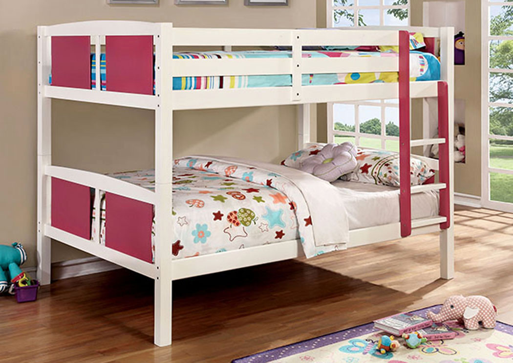 Corral Pink & White Full/Full Bunk Bed w/Ladder,Furniture of America
