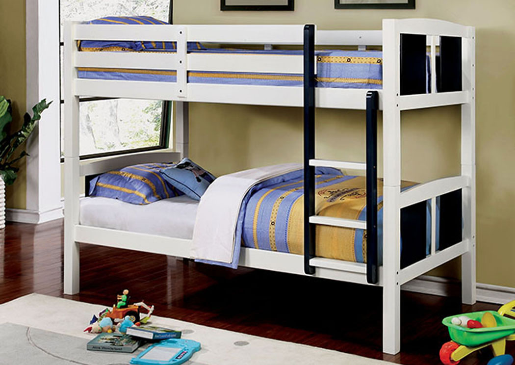 Corral Blue & White Twin/Twin Bunk Bed w/Ladder,Furniture of America