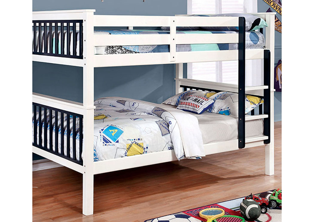 Corrin Blue & White Full/Full Bunk Bed w/Ladder,Furniture of America