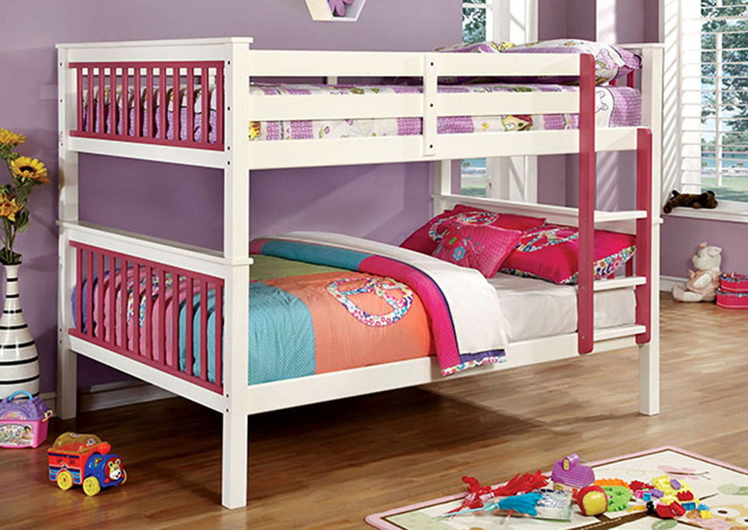 Corrin Pink & White Full/Full Bunk Bed w/Ladder,Furniture of America