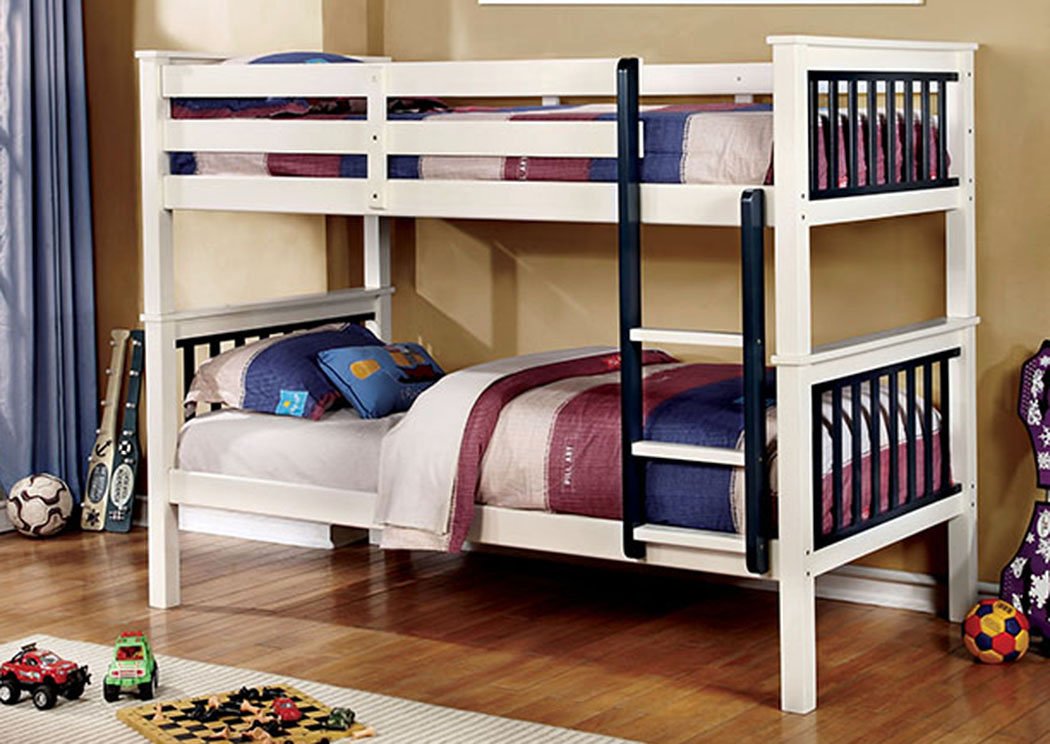 Corrin Blue & White Twin/Twin Bunk Bed w/Ladder,Furniture of America