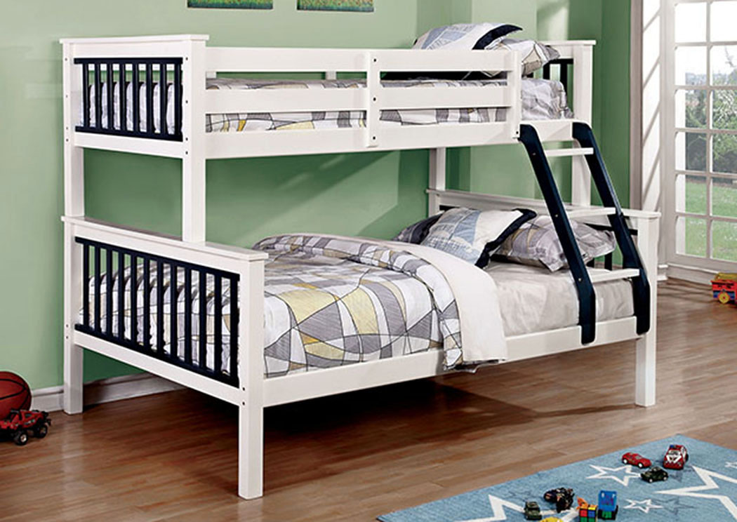 Corrin Blue & White Twin/Full Bunk Bed w/Ladder,Furniture of America