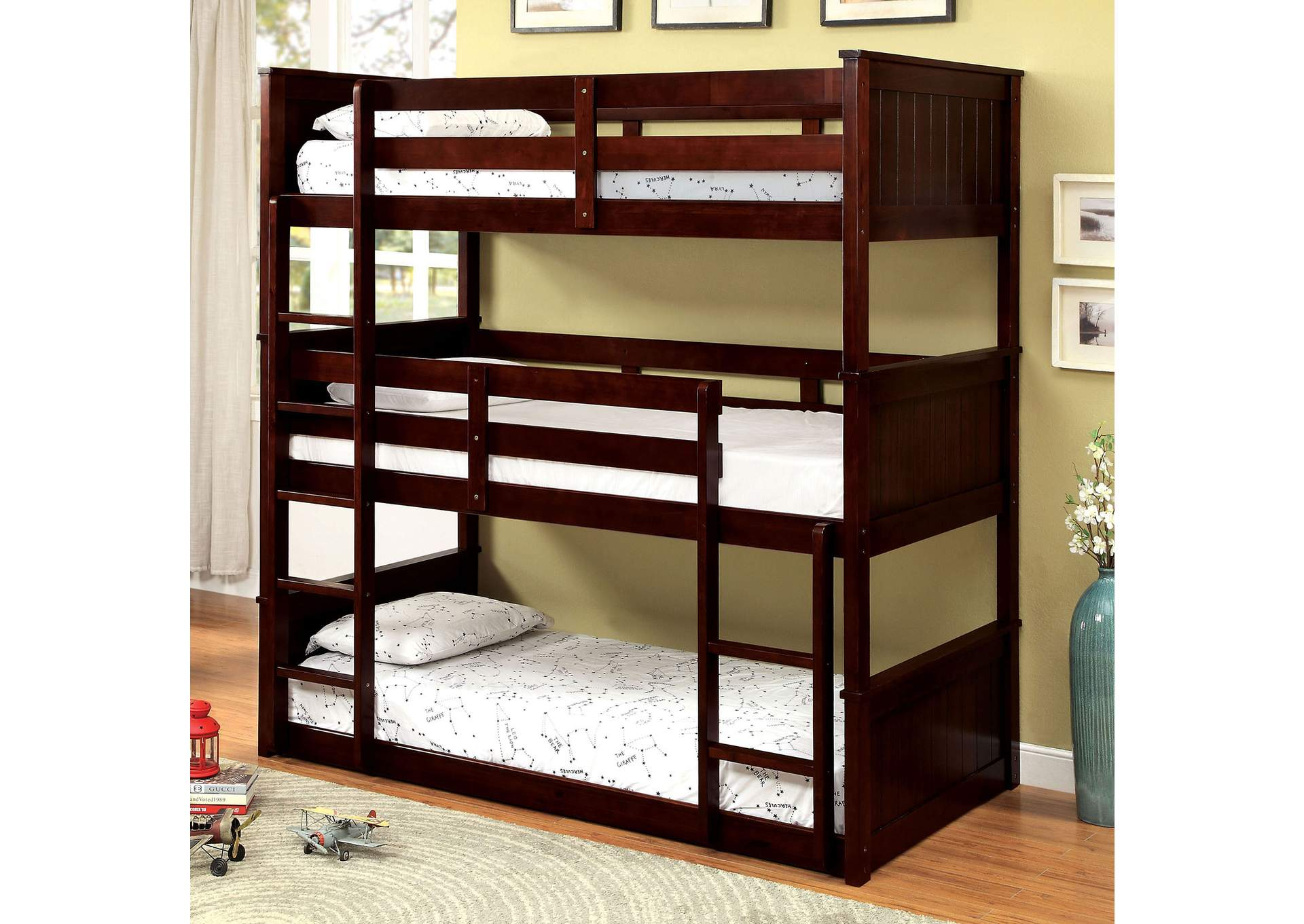 Therese Espresso Triple Twin Decker Bed,Furniture of America TX