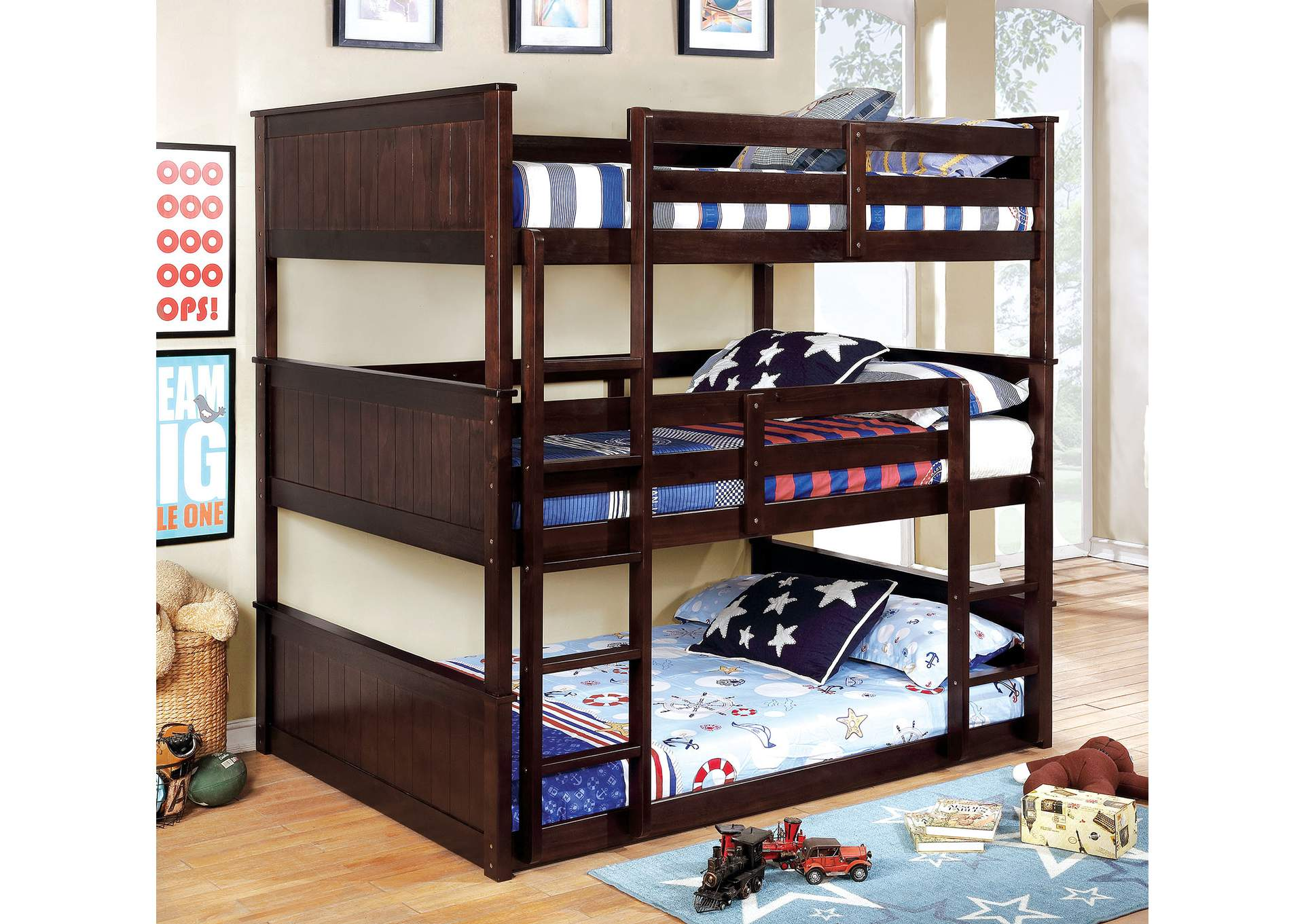 Therese Espresso Full Triple Decker Bed,Furniture of America TX