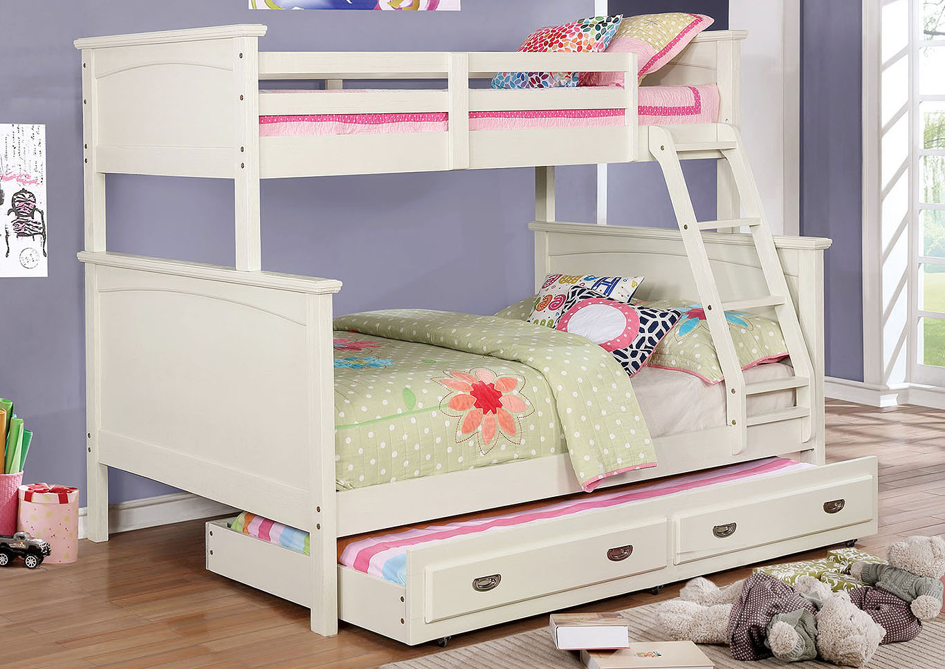 Marci White Twin/Twin Bunk Bed,Furniture of America