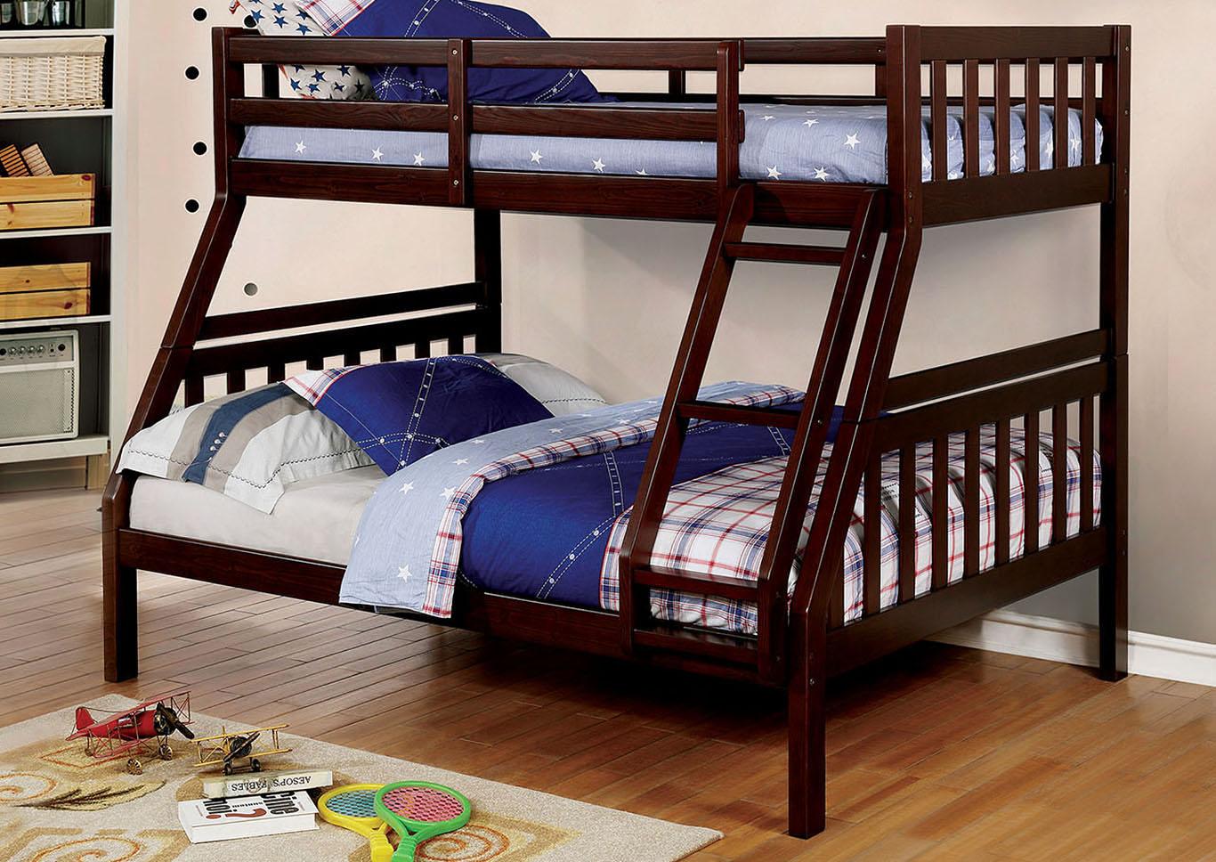 Beau Emilie Dark Walnut Twin/Full Bunk Bed,Furniture Of America