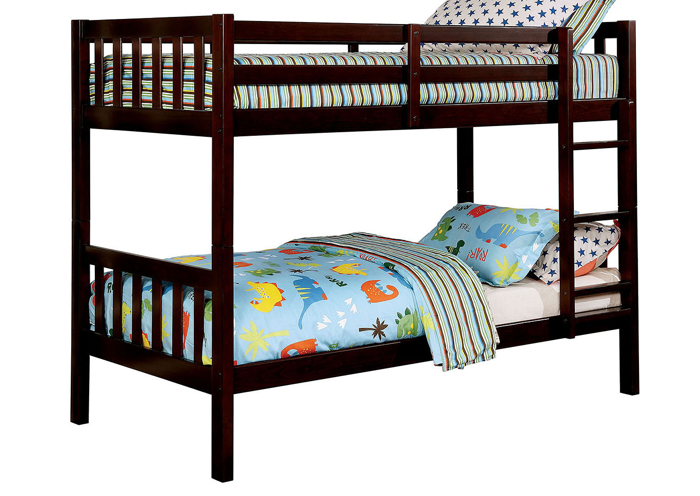 Emilie Dark Walnut Twin/Twin Bunk Bed,Furniture of America