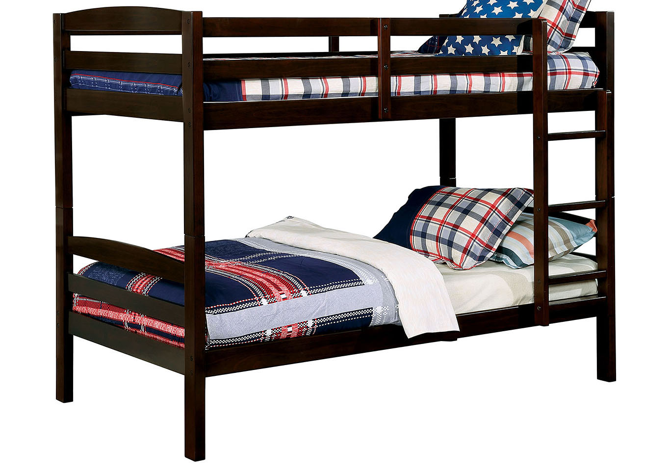 Elaine Dark Walnut Twin/Twin Bunk Bed,Furniture of America