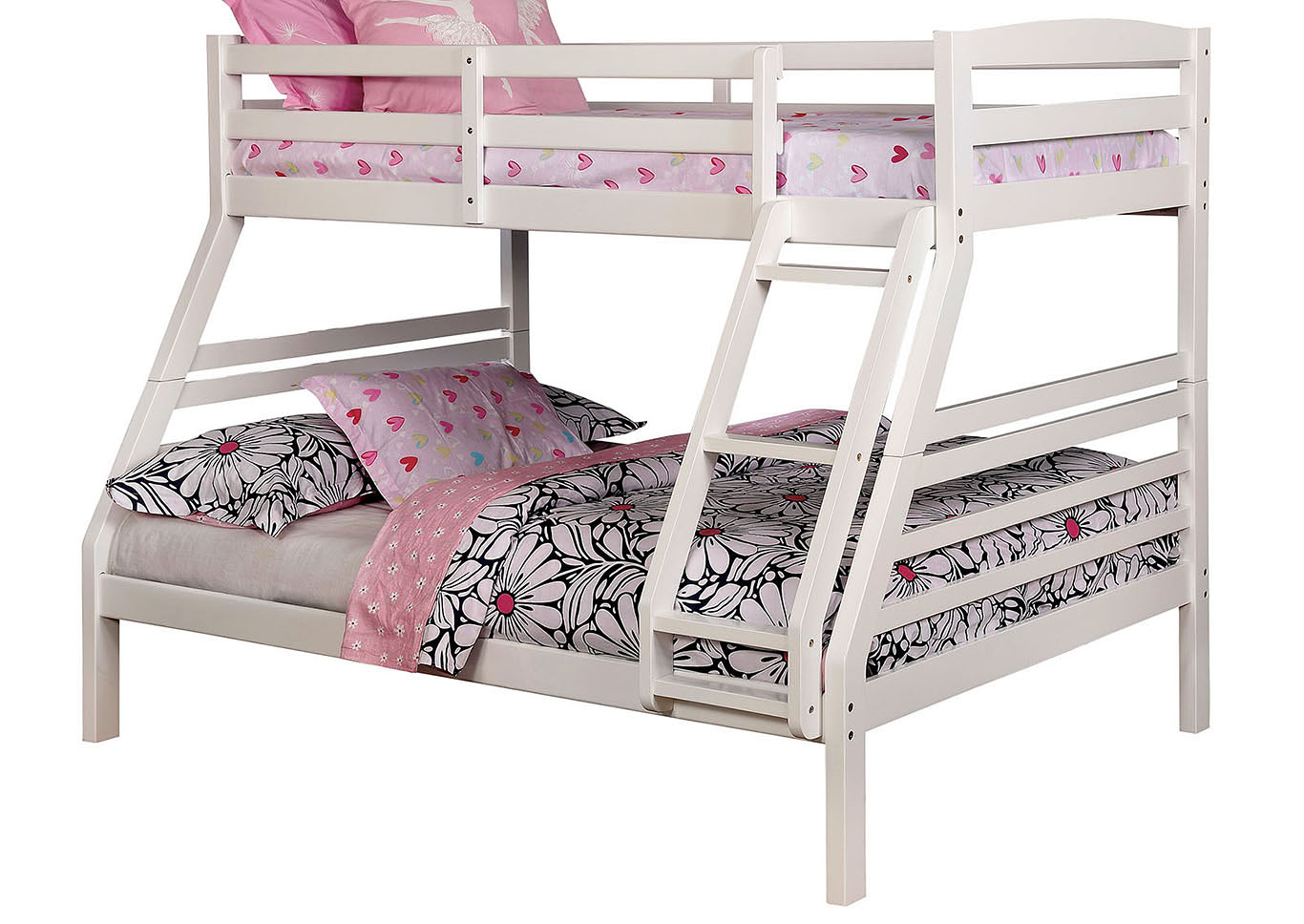 Elaine White Twin/Full Bunk Bed,Furniture of America