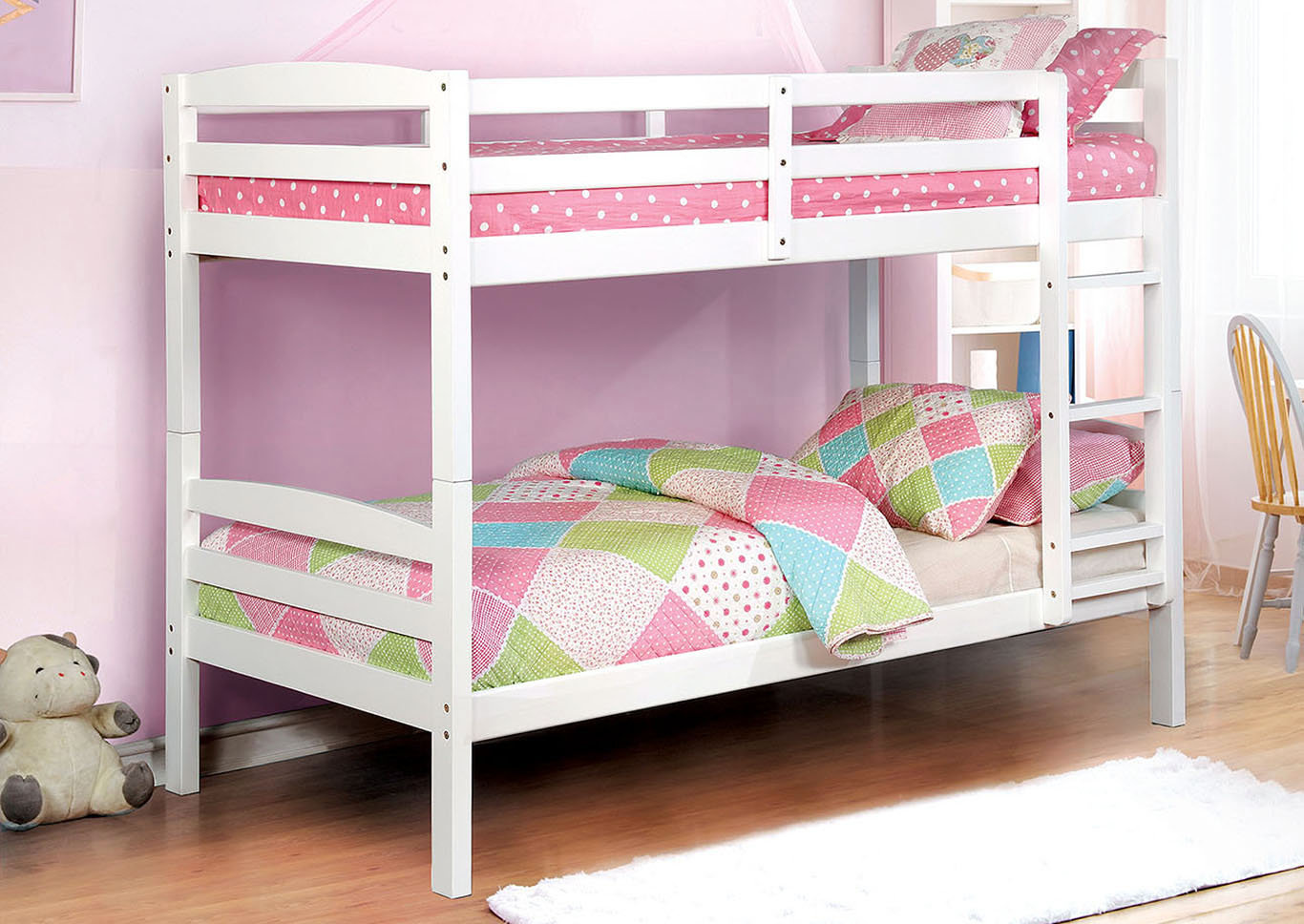 Elaine White Twin/Twin Bunk Bed,Furniture of America