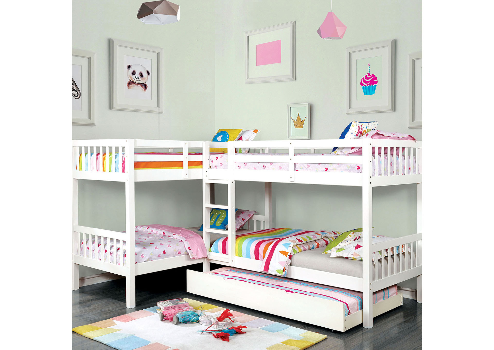 Marqutte White L-Shaped Quadruple Twin Bunk Bed,Furniture of America