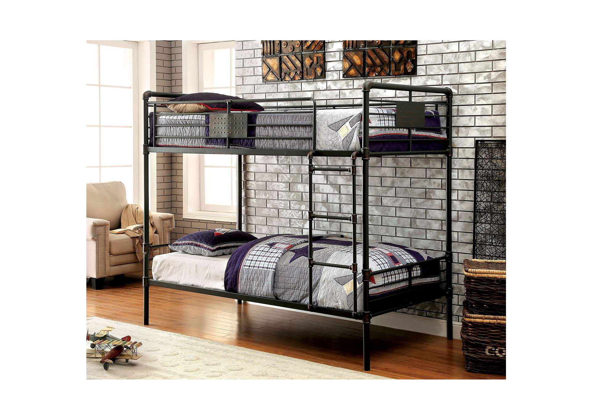 Olga l Antique Black Metal Twin/Twin Bunk Bed w/Ladder,Furniture of America TX