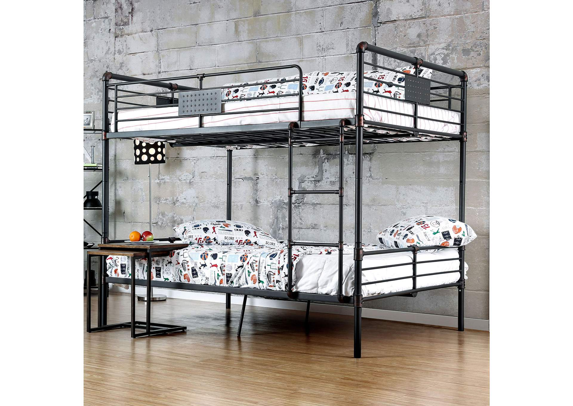 Olga I Antique Black Metal Full/Full Bunk Bed,Furniture of America TX