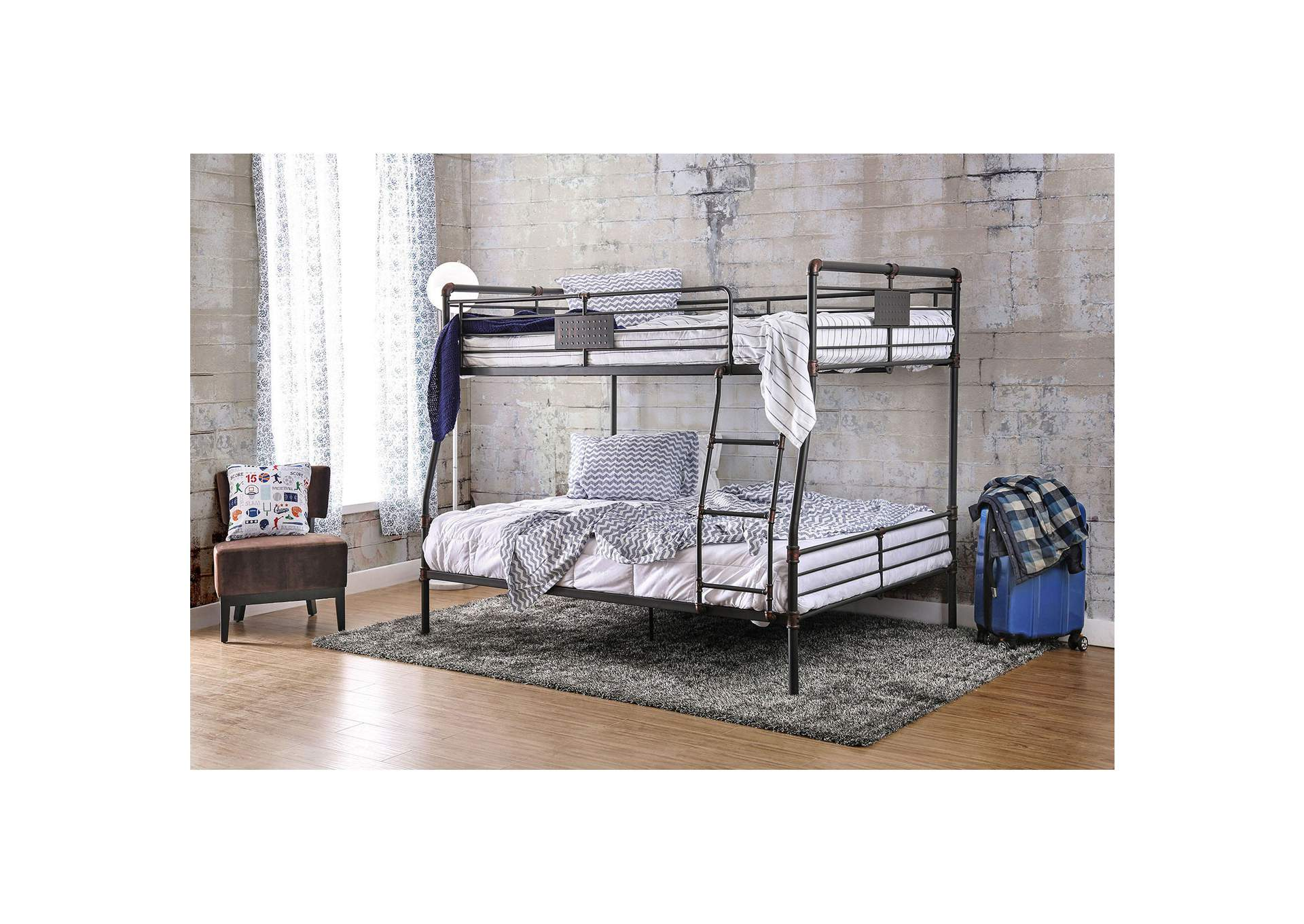 Olga I Antique Black Metal Full/Queen Bunk Bed,Furniture of America TX
