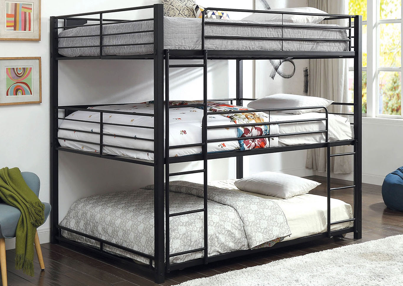 Olga Queen Triple Decker Bed,Furniture of America