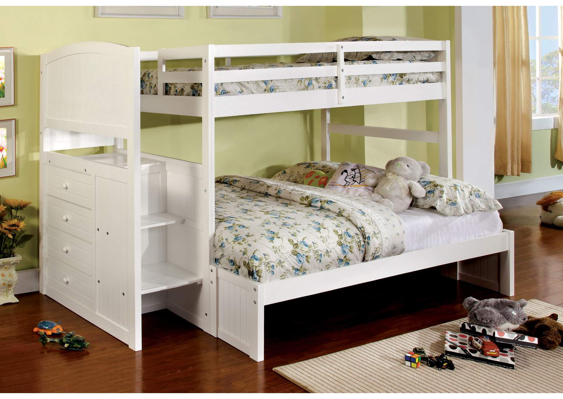 Furniture Ville Bronx Ny Appenzell White Full Bunk Bed W Dresser