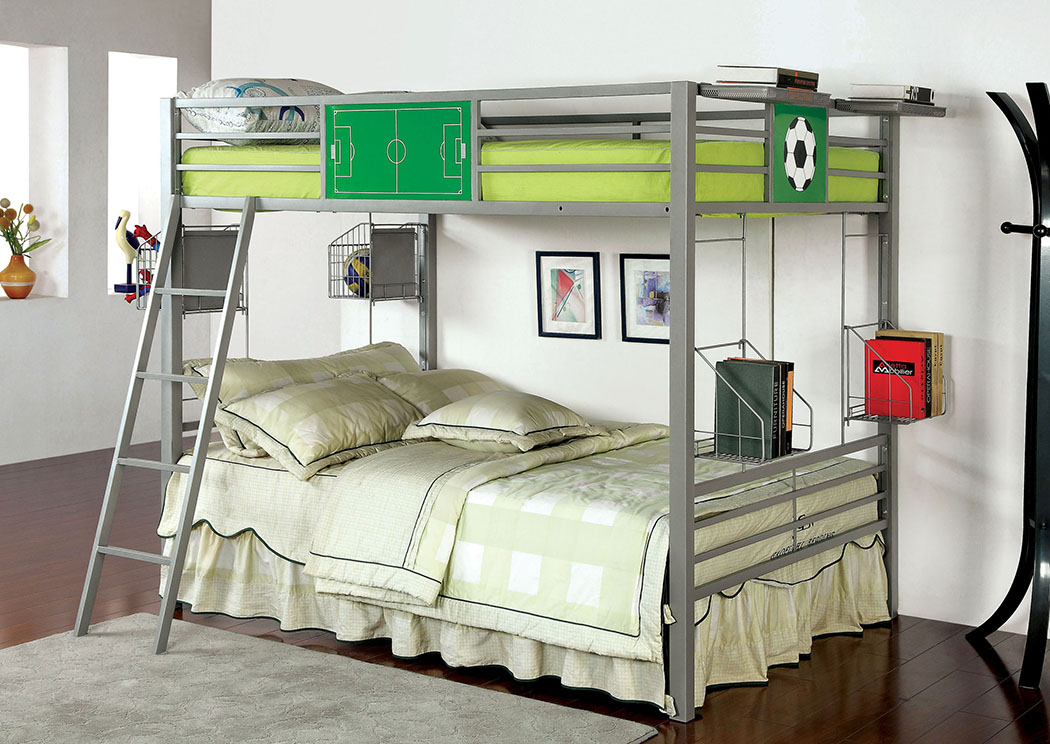 Athlete Gray Full/Full Metal Bunk Bed,Furniture of America