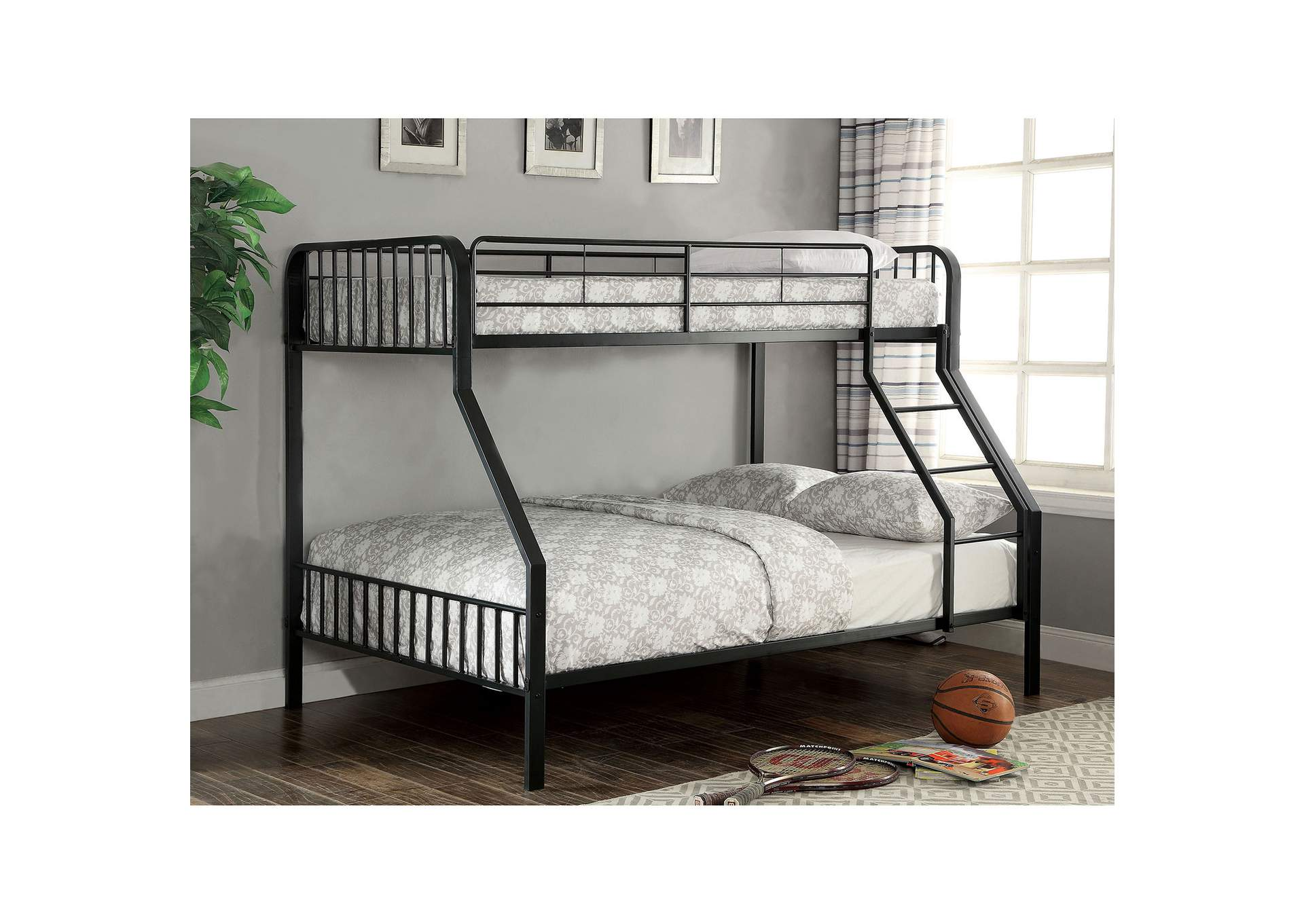 Clement Black Twin/Full Bunk Bed w/Ladder,Furniture of America