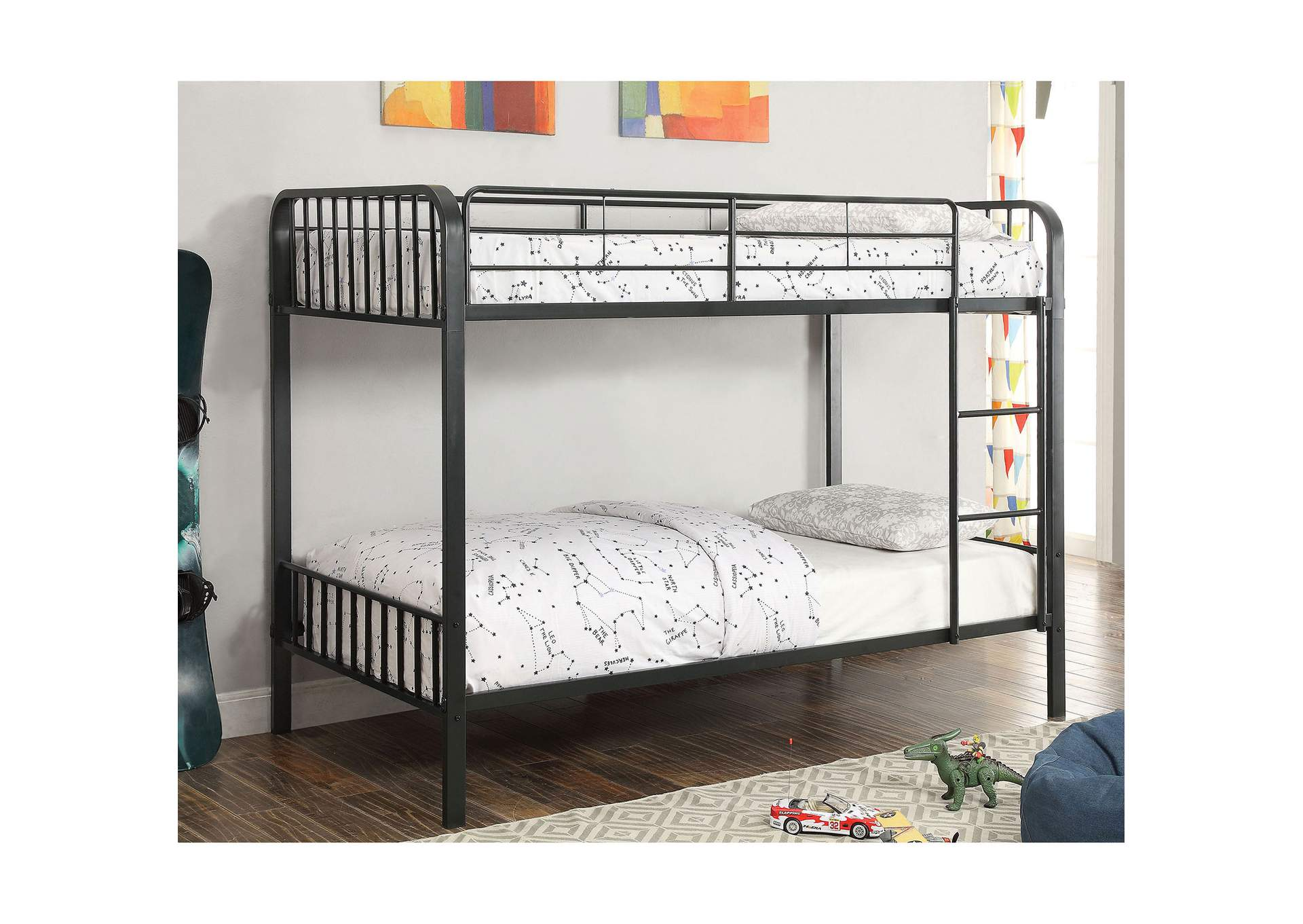 Clement Black Twin/Twin Bunk Bed w/Ladder,Furniture of America