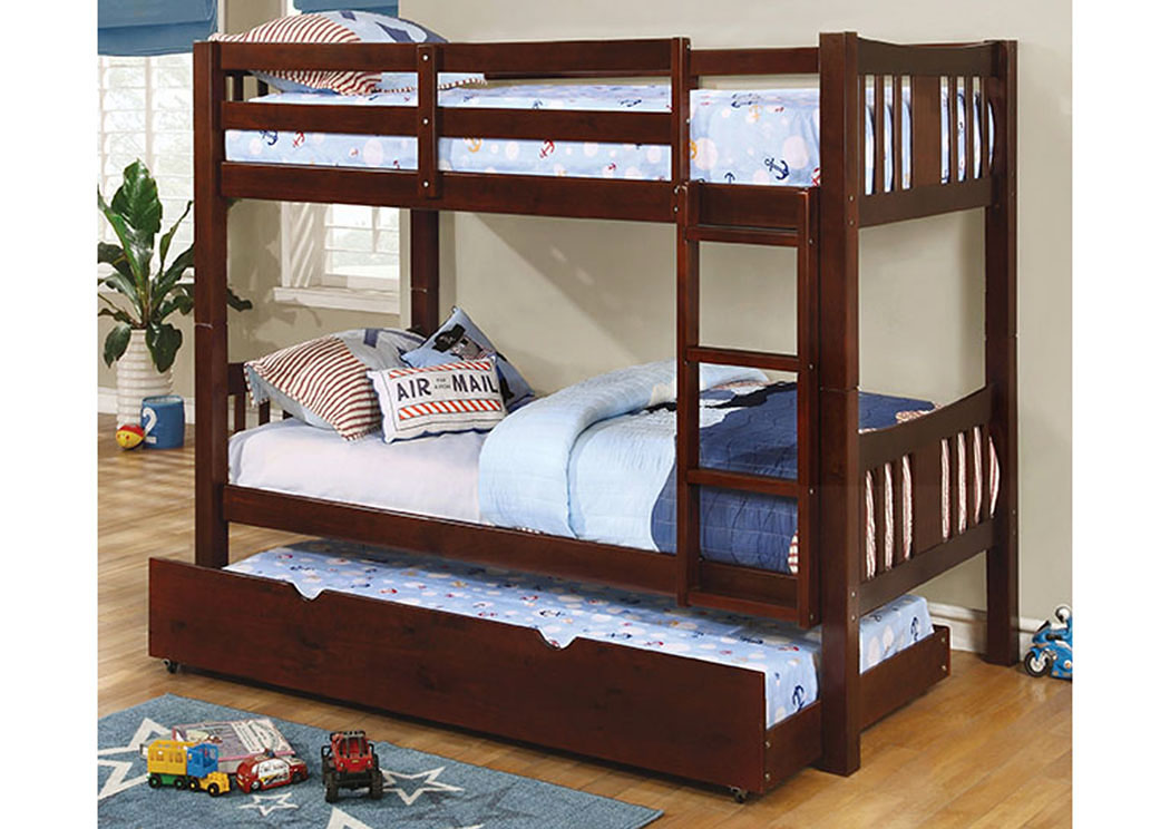 Cameron Espresso Twin/Twin Bunk Bed,Furniture of America