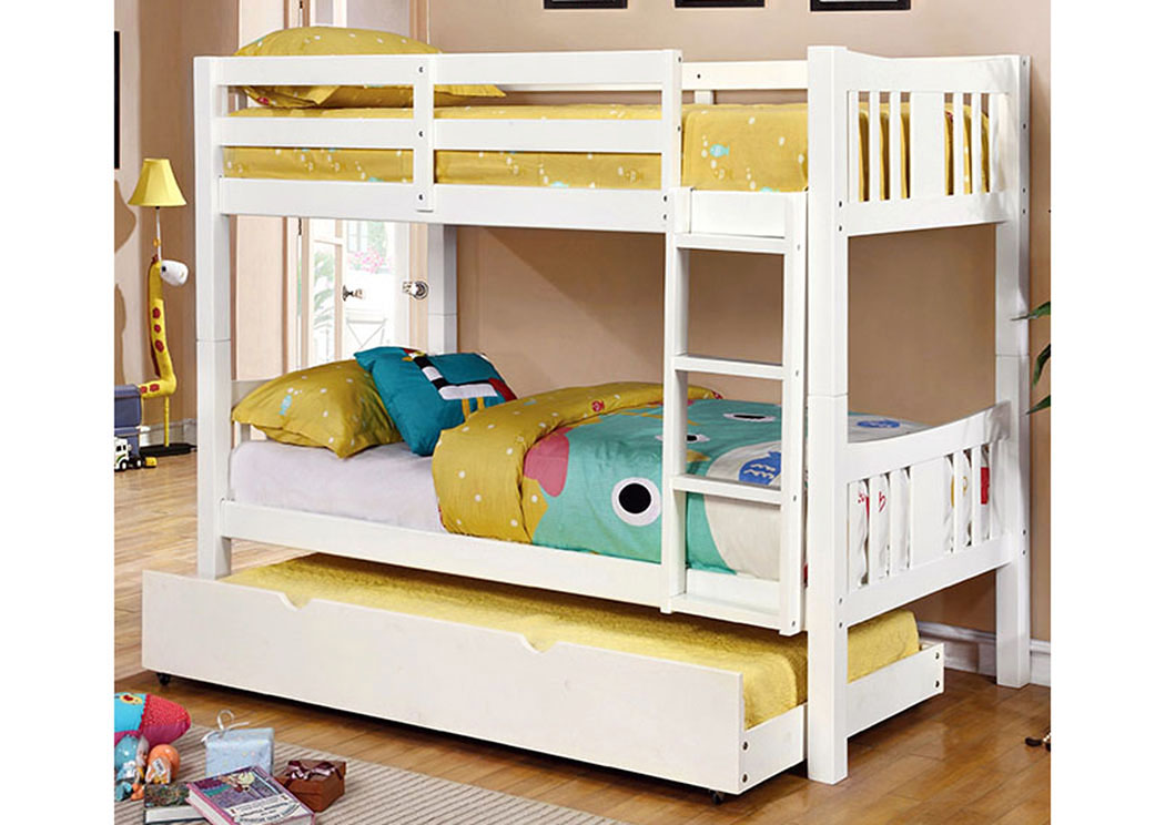 Cameron Twin/Twin White Bunk Bed,Furniture of America