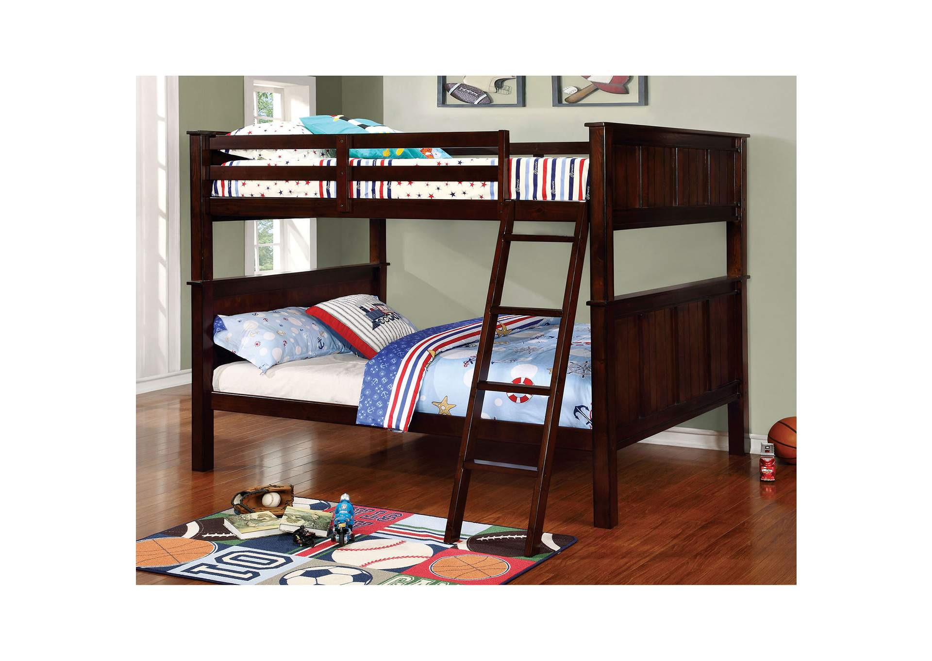 Gracie Dark Walnut Full/Full Bunk Bed w/Ladder,Furniture of America