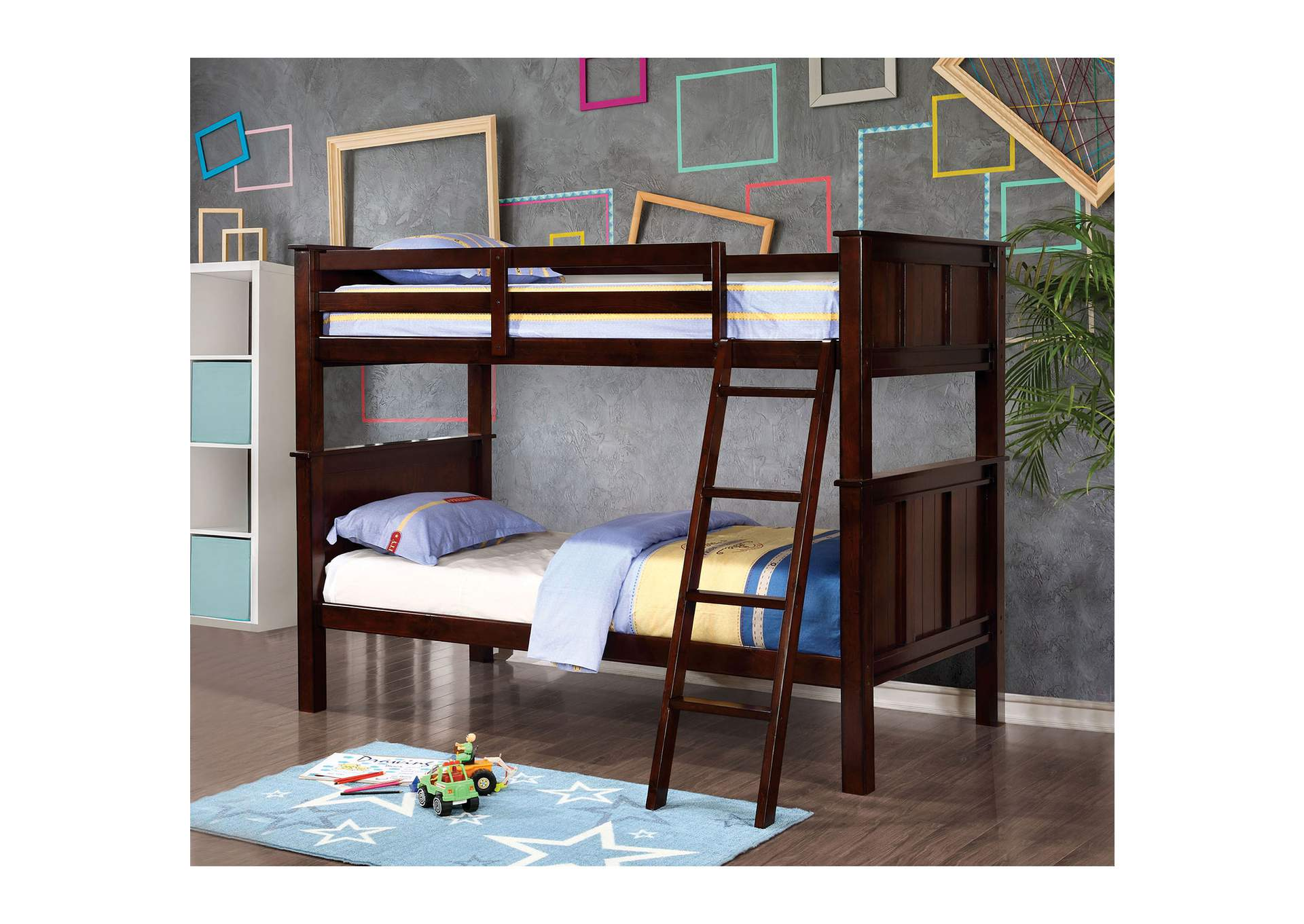 Gracie Dark Walnut Twin/Twin Bunk Bed w/Ladder,Furniture of America