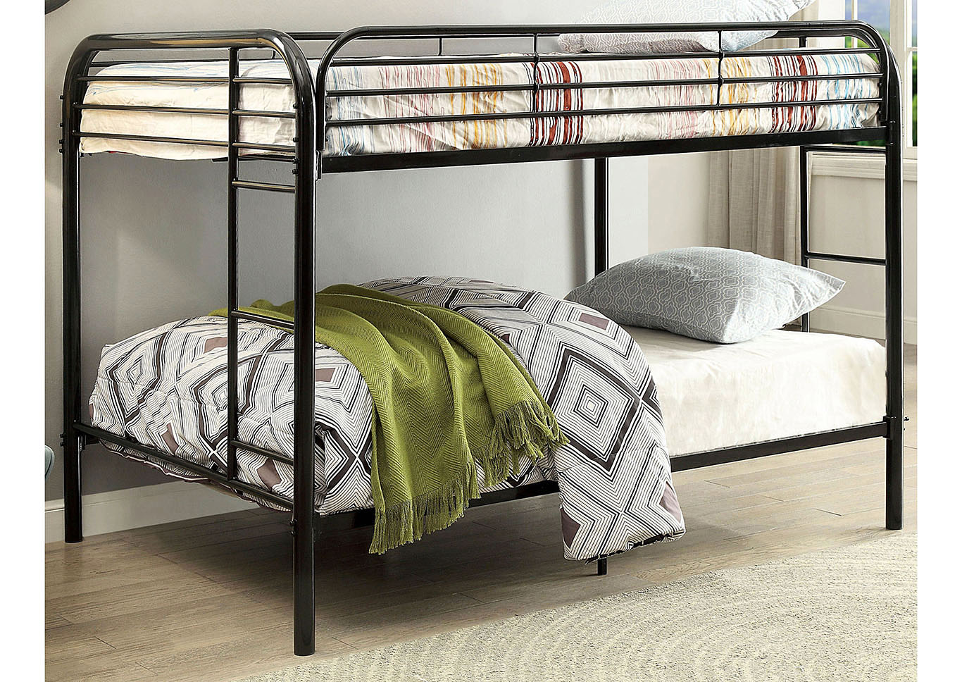 Opal Black Full/Full Metal Bunk Bed,Furniture of America