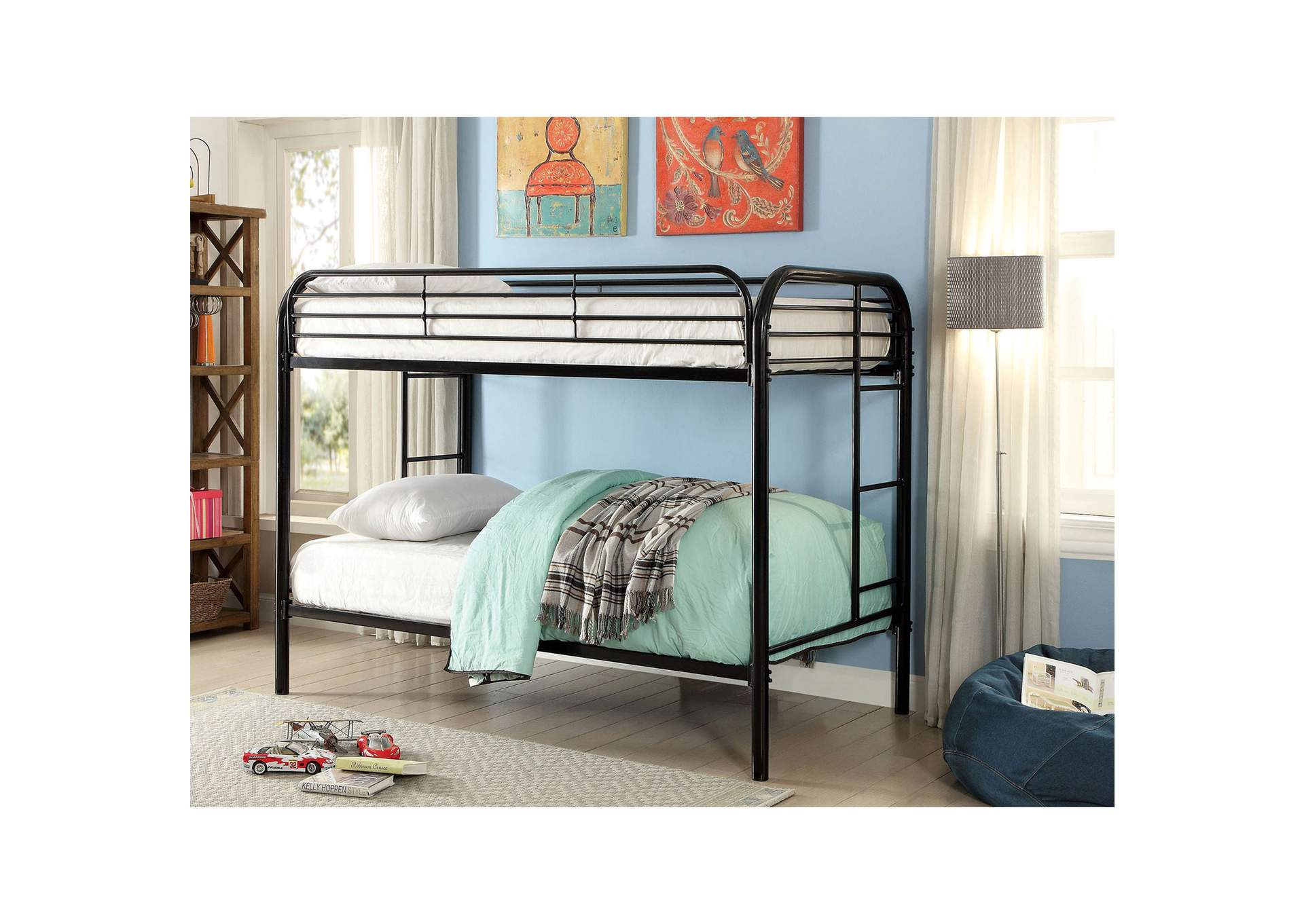Opal Black Twin/Twin Metal Bunk Bed,Furniture of America