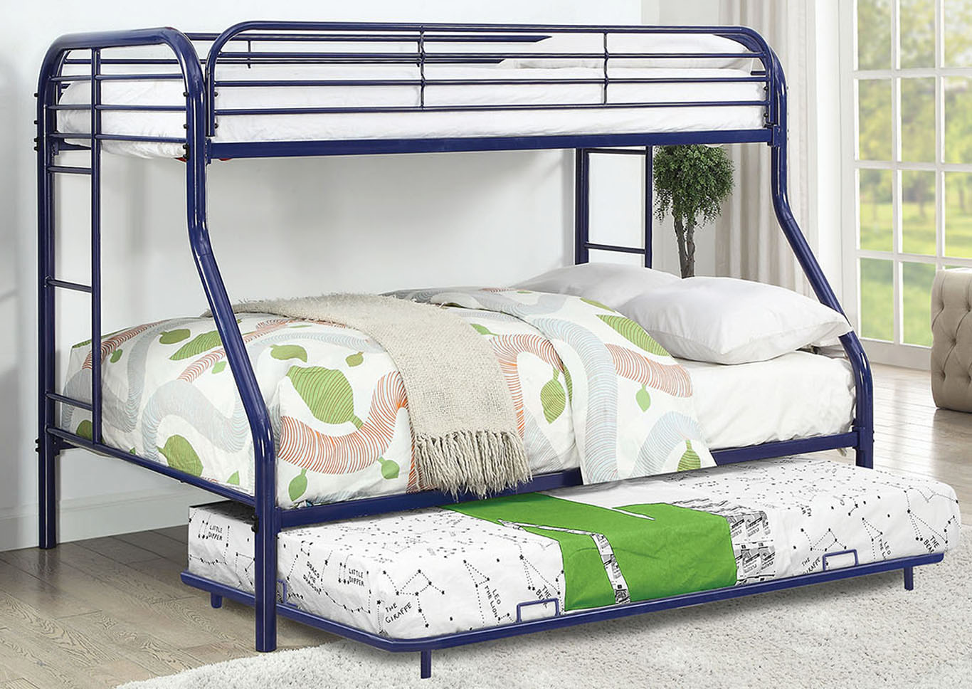 Opal Blue Twin/Full Metal Bunk Bed,Furniture of America