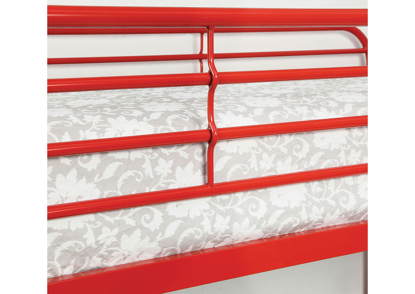 Opal Red Twin/Full Metal Bunk Bed,Furniture of America