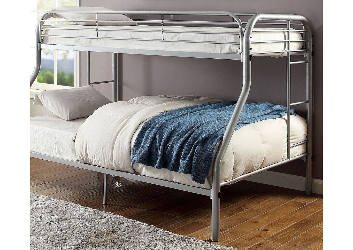 Opal Silver Twin/Full Metal Bunk Bed,Furniture of America